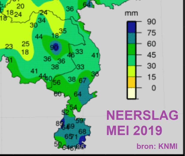 Maandtotalen KNMI-neerslagstations mei 2019