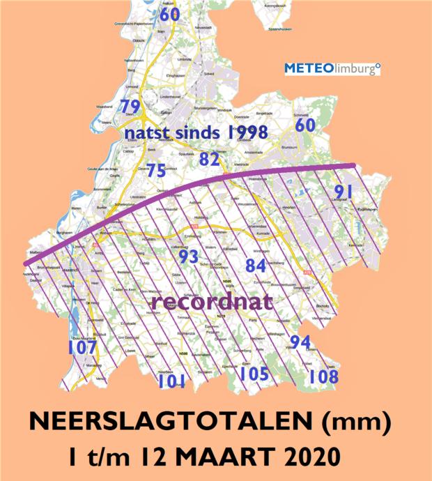 Globaal ten zuiden van de lijn Maastricht-Brunssum waren de eerste twaalf dagen van maart recordnat